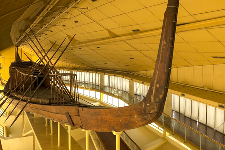 Ancient Egyptian galley. Ancient ships in the museum.