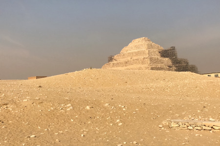 Pyramids of giza. Great pyramids of Egypt. The seventh wonder of the world. Ancient megaliths Stock Photo