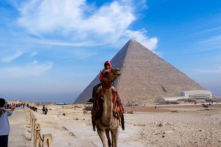 Giza Museum Complex, Egypt - 27 August 2017: Pyramids of giza. Great pyramids of Egypt. The seventh wonder of the world. Ancient megaliths