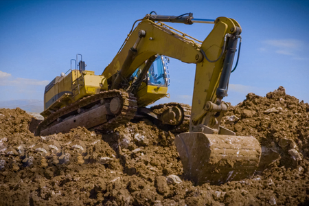 Construction of the pipeline. Site construction. Construction machinery Stock Photo