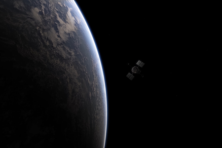 The satellite which is flying by over the planet the earth. Space in representation of the artist. Stockfoto - 102555773