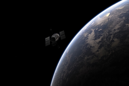 The satellite which is flying by over the planet the earth. Space in representation of the artist. Stockfoto