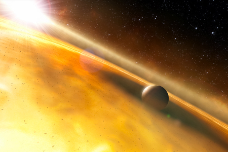 Gas dusty protoplanetary cloud. Formation of the planetary system.