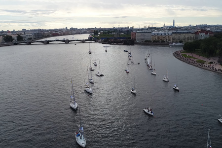 St. Petersburg, Russia - July 24, 2017: Festival of yachts in St. Petersburg on the river neve. Sailing yachts in the river. Editorial