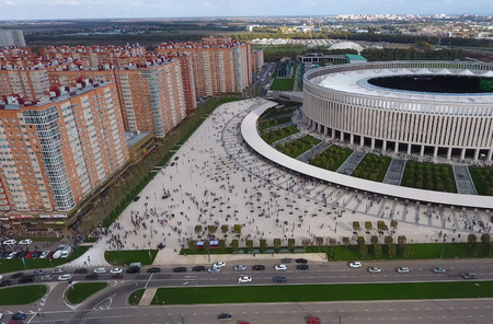 Krasnodar, Russia - May 28, 2018: Krasnodar Stadium in the city of Krasnodar. The modern building of the stadium in the south of Russia.