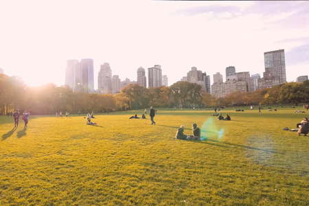 New York, USA - October 15, 2017: People in the park in the clearing.