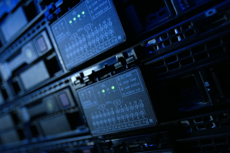 Equipment on the shelves is the data center. Server date centers Stock Photo