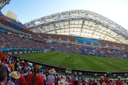 Sochi, Russia - June 15, 2018: Sochi, the stadium fisht. The fans filled the stadium. Match Portugal vs Spain Editorial