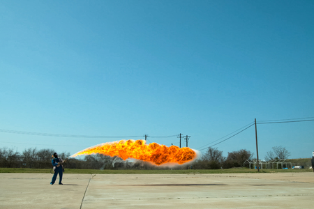 Flamethrower in action. a Flamethrower operational test. Imagens