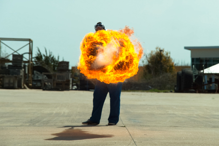 Flamethrower in action. a Flamethrower operational test. Stock fotó
