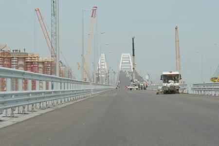 Taman, Russia - April 4, 2018: Construction of the Crimean bridge. Landscape construction.