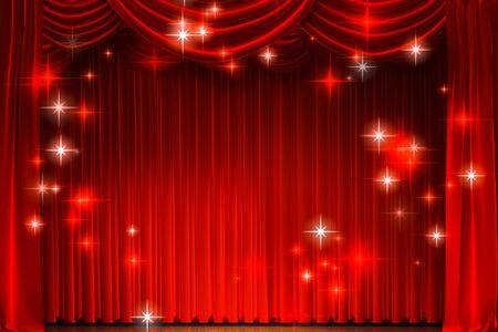Rideau de théâtre et éclairage sur scène. Illustration du rideau du théâtre.
