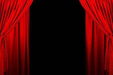 Sipario del teatro e illuminazione sul palco. Illustrazione del sipario del teatro.