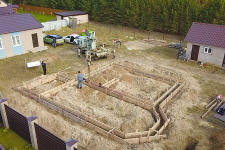 Moscow, Russia - November 10, 2019: The foundation of the house. Building a house, digging the foundation. Sajtókép