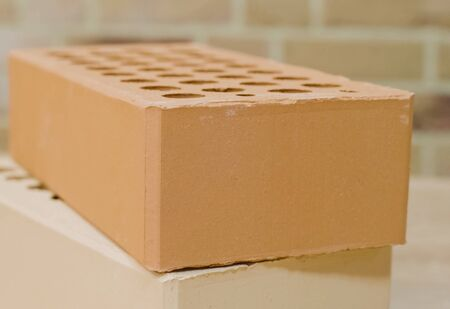 Samples of hollow bricks. Brick factory products. 免版税图像