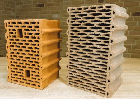 Samples of hollow bricks. Brick factory products. Banque d'images