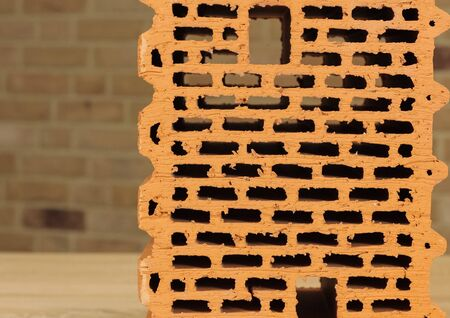 Samples of hollow bricks. Brick factory products. Zdjęcie Seryjne