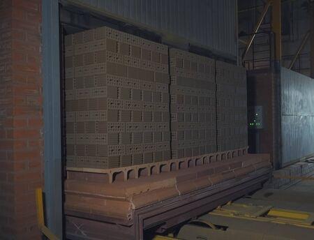 Transporting raw bricks to the roasting stove. Brickworks. 免版税图像