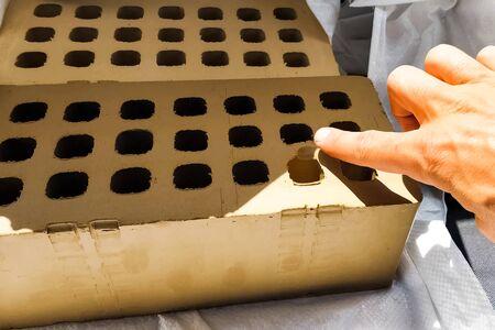 Unburned samples of ceramic hollow bricks. Stock fotó