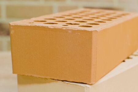 Samples of hollow bricks. Brick factory products. Standard-Bild - 140766077