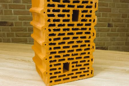 Samples of hollow bricks. Brick factory products. Stock fotó
