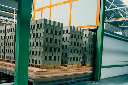 The brick is raw. Move raw bricks to the kiln. Brick production, hollow ceramic bricks factory. Brick production, bricks factory.
