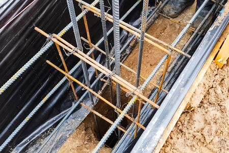The foundation of the house. Building a house, digging the foundation. Standard-Bild