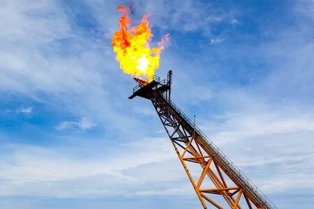 Burning the torch at the torch plant burning associated natural gas on the oil platform