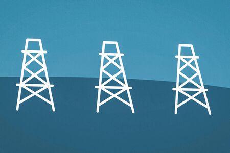 Oil rigs illustration of a drilling rig. Standard-Bild