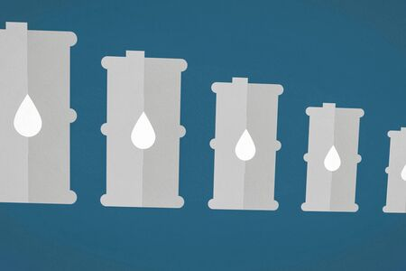 Illustration of oil barrels with a drop of oil on them. From a small barrel to a large