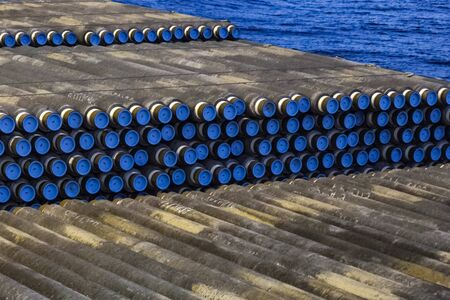 Pipes for laying a gas pipeline on the seabed. Construction of the offshore gas pipeline.
