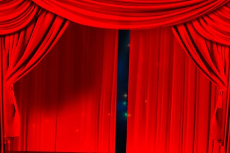 Theatre curtain and lighting on stage. Illustration of the curtain of the theater.