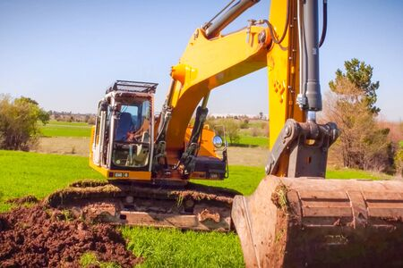 Construction of the pipeline. Site construction. Construction machinery