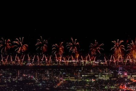 Festive salute in the night sky. Salute over the city the megalopolis. Explosions of fireworks. Stock Photo