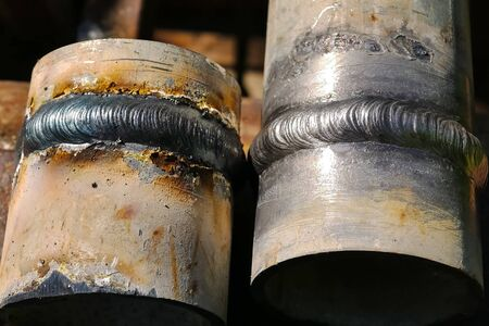 Metal pipe with welded seam. Welding of pipes