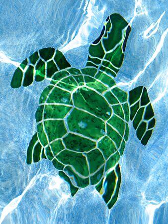 mosaic: Tile Swimming Pool Turtle Stock Photo