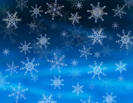 hanukah: Bright Winter Night Sky with Falling Snowflakes
