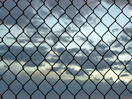 chainlink: Chainlink fence with sunset view