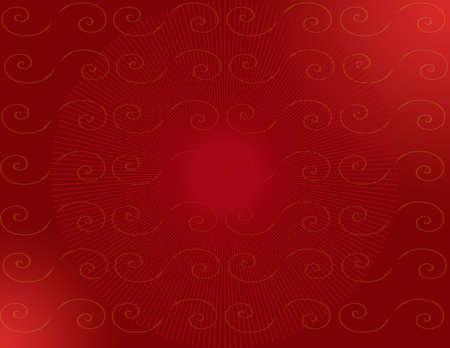 Deep Red Sunburst & Spirals 免版税图像