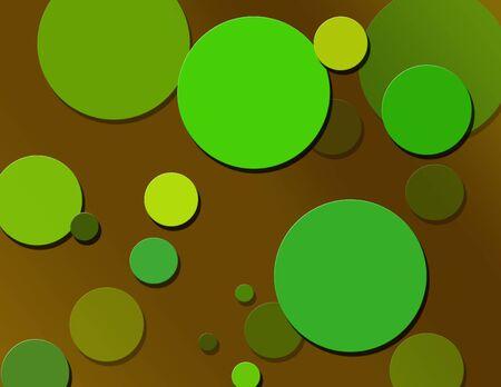 Coffee Brown & Green Retro Polka Dots photo