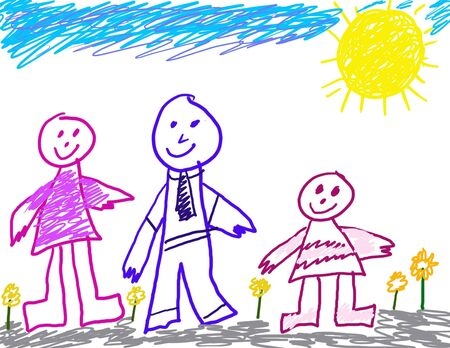 Child's Drawing of Her Family  Stock Photo - 2403029
