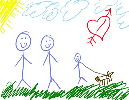 Childs Drawing of His Family  photo