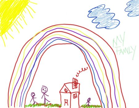 Child's Drawing of Family Life Stock Photo - 2403024