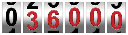miles: 36,000 Red Warning Odometer Illustration
