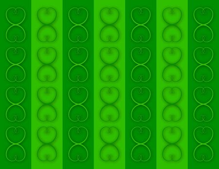 entwined: Gold Interlocking Hearts on Green Columns Stock Photo