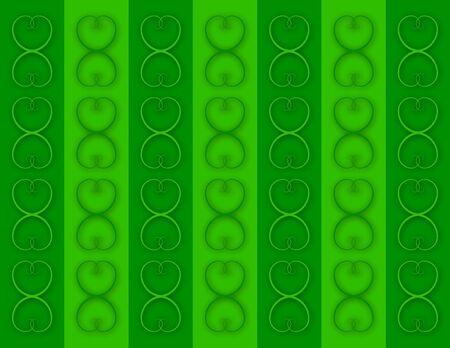 verde: Gold Interlocking Hearts on Green Columns Stock Photo