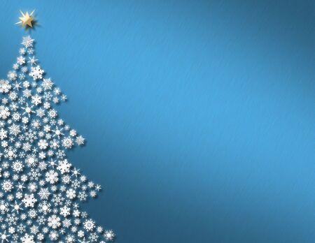 흰 눈송이 나무와 크림 파란색 배경 스톡 콘텐츠