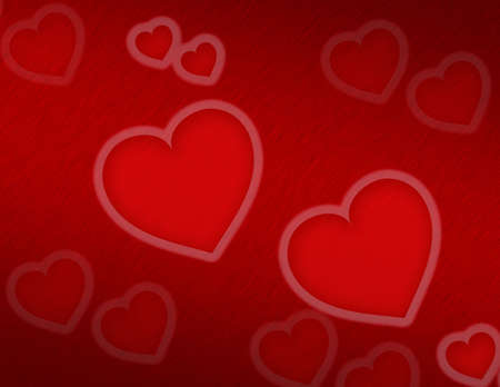 polished: Valentine hearts on polished red metal