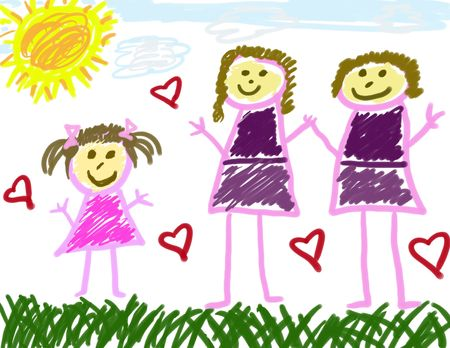 Childs drawing of her family photo