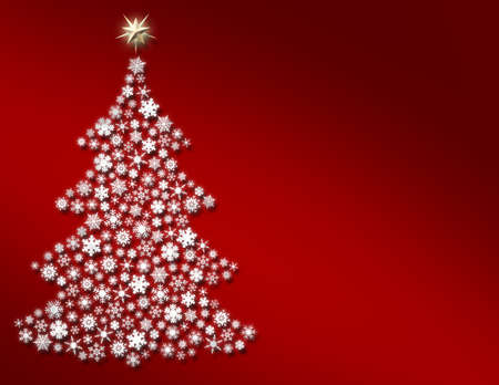 Snowflake Tree on Bright Red Stock Photo